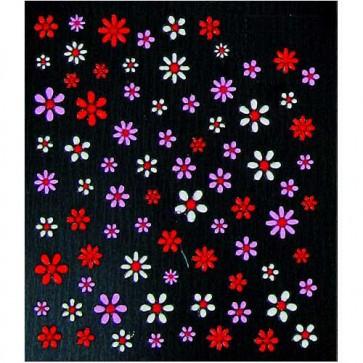 Décorations d'ongles 3D Fleurs Rouges Roses